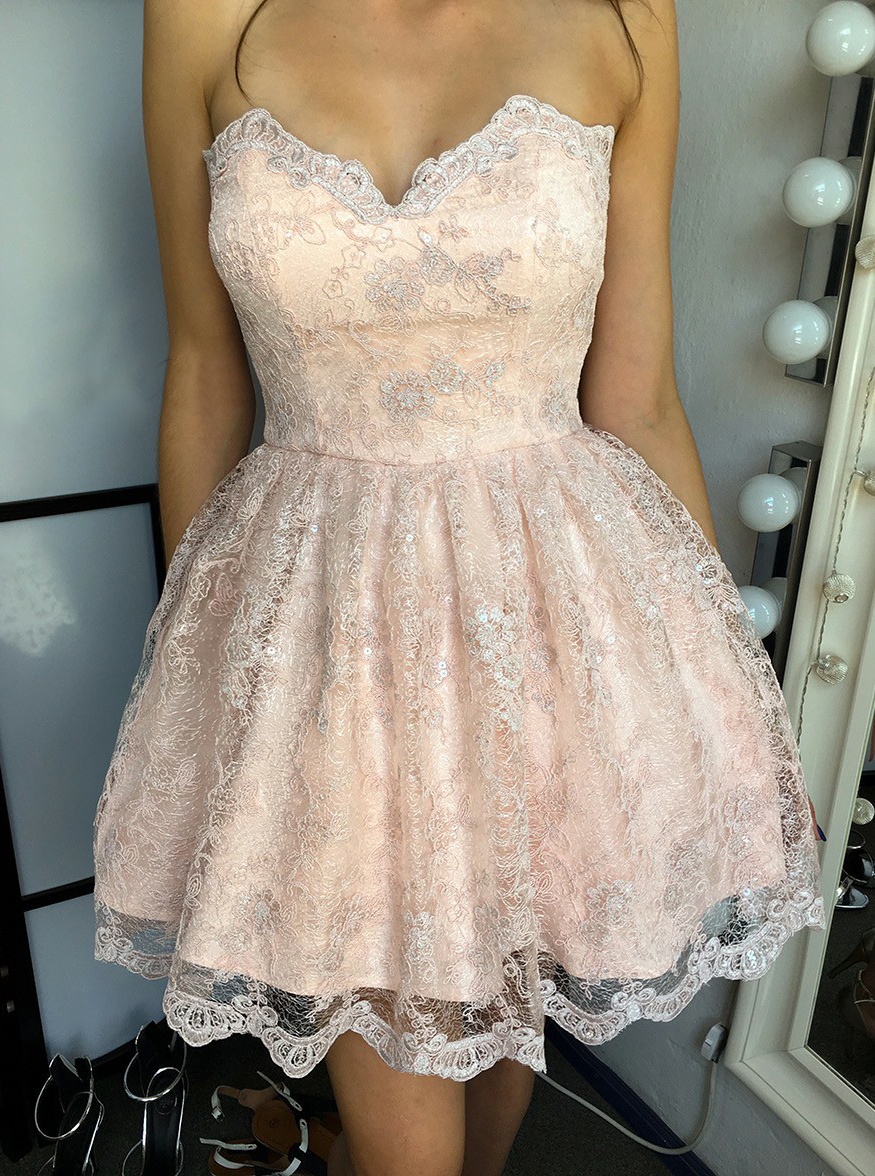 A-Line Sweetheart Short Pearl Pink Lace Homecoming Dress фото