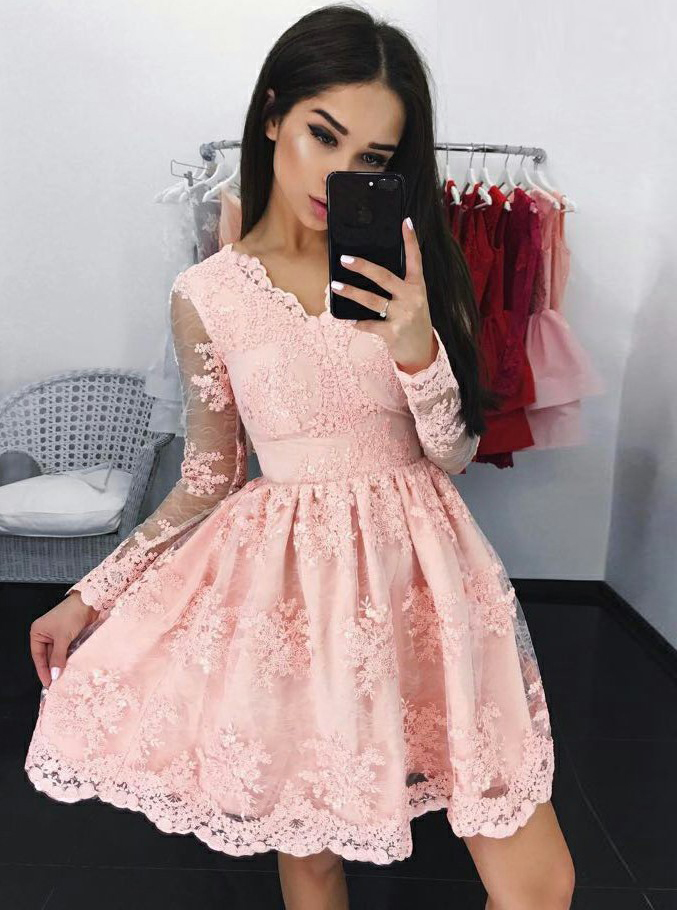 Simple-dress / A-Line V-Neck Long Sleeves Short Pink Lace Homecoming Dress with Appliques