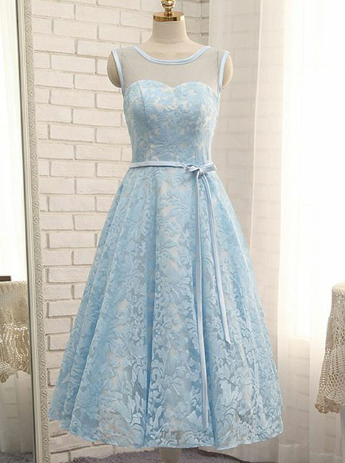 A-Line Bateau Sleeveless Short Blue Lace Homecoming Dress with Sash фото
