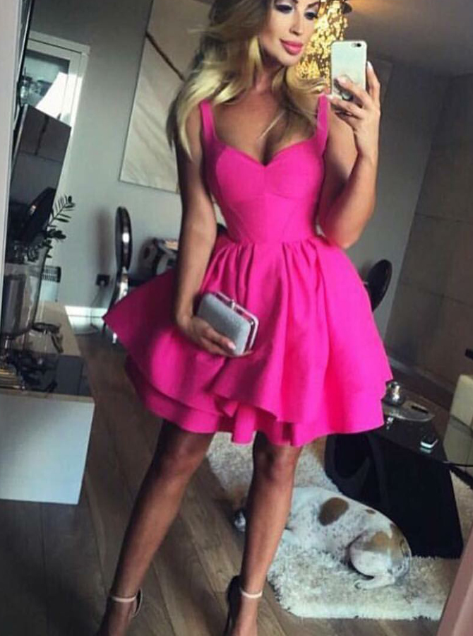 Ball Gown Scoop Eyelet Lace-up Fuchsia Short Satin Homecoming Dress фото