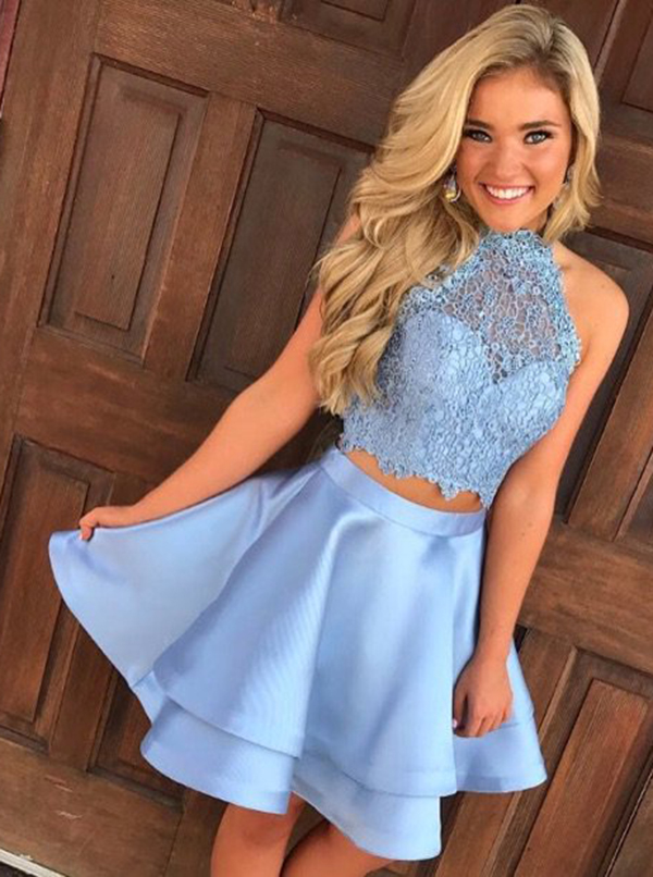 Two Piece Round Neck Short Tiered Satin Homecoming Dress with Lace, Blue