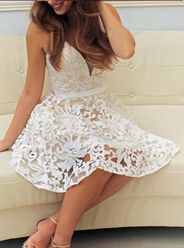A-Line Deep V-Neck Short White Lace Homecoming Dress with Sash