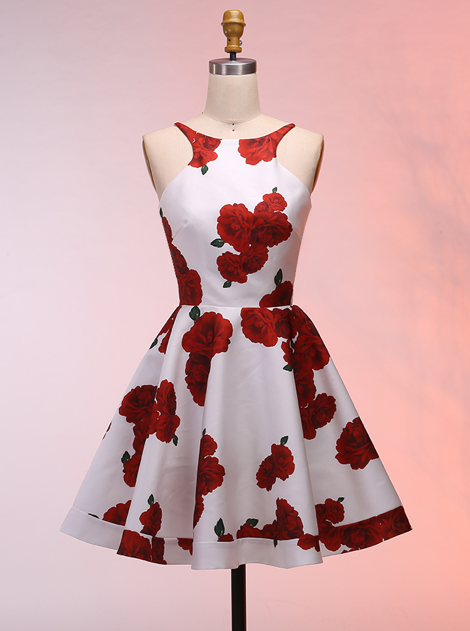 Simple-dress / A-Line Bateau Sleeveless Short Backless Floral Satin Homecoming Dress