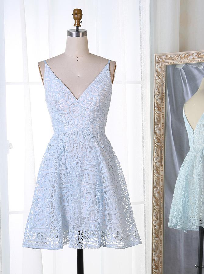 A-Line Spaghetti Straps Short Light Blue Lace Homecoming Dress фото