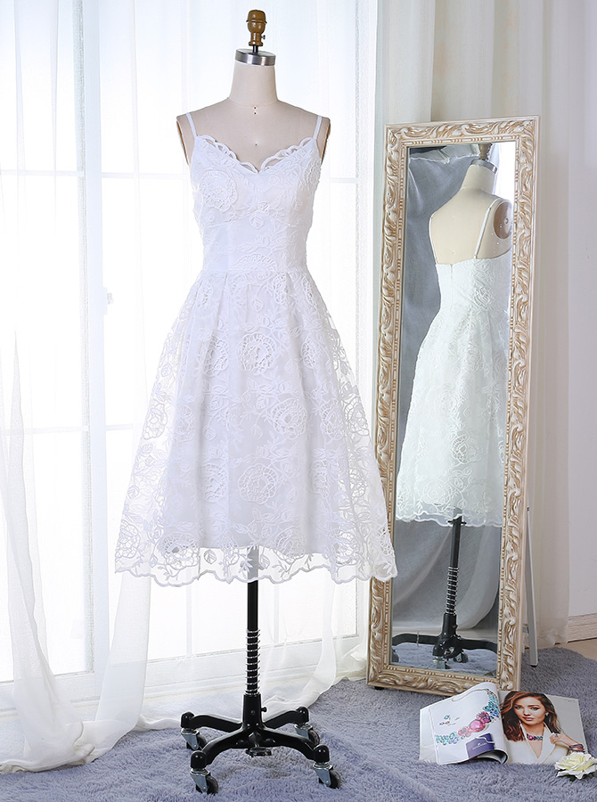 Simple-dress / A-Line Spaghetti Straps Short White Lace Homecoming Dress