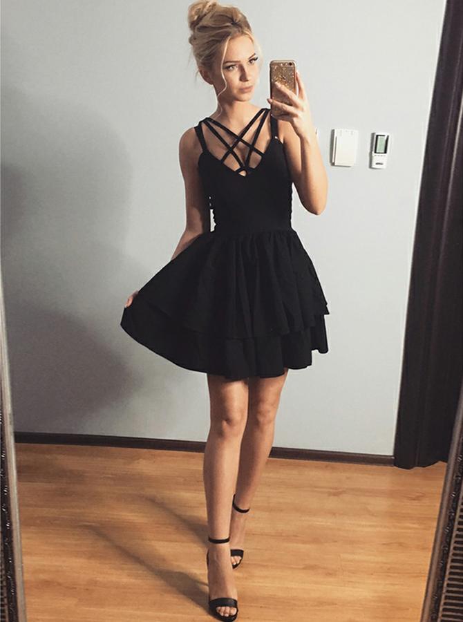 A-Line Straps Polyester Little Black Dress фото