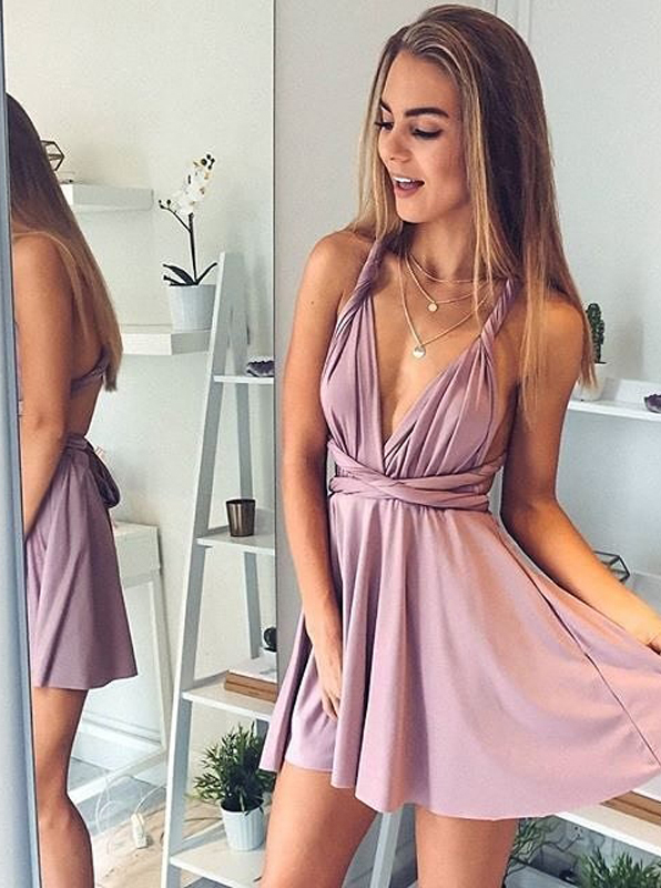 A-Line Deep V-Neck Short Blush Elastic Satin Convertible Style Homecoming Dress фото