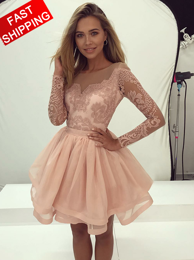 A-Line Bateau Pearl Pink Tulle Homecoming Dress with Appliques Sleeves фото