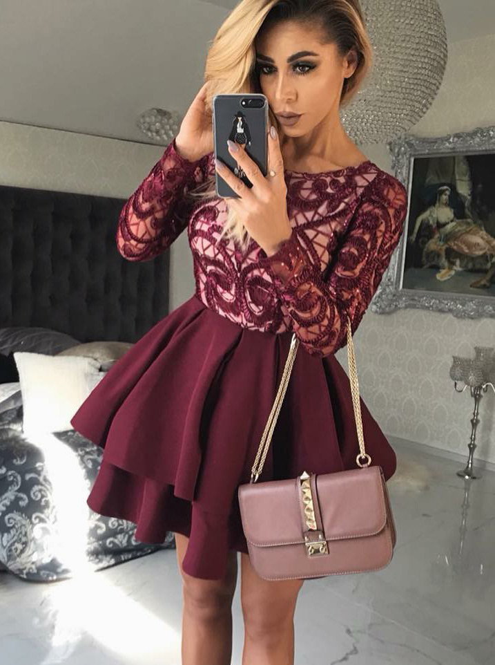 A-Line Round Neck Burgundy Satin Homecoming Dress with Lace фото