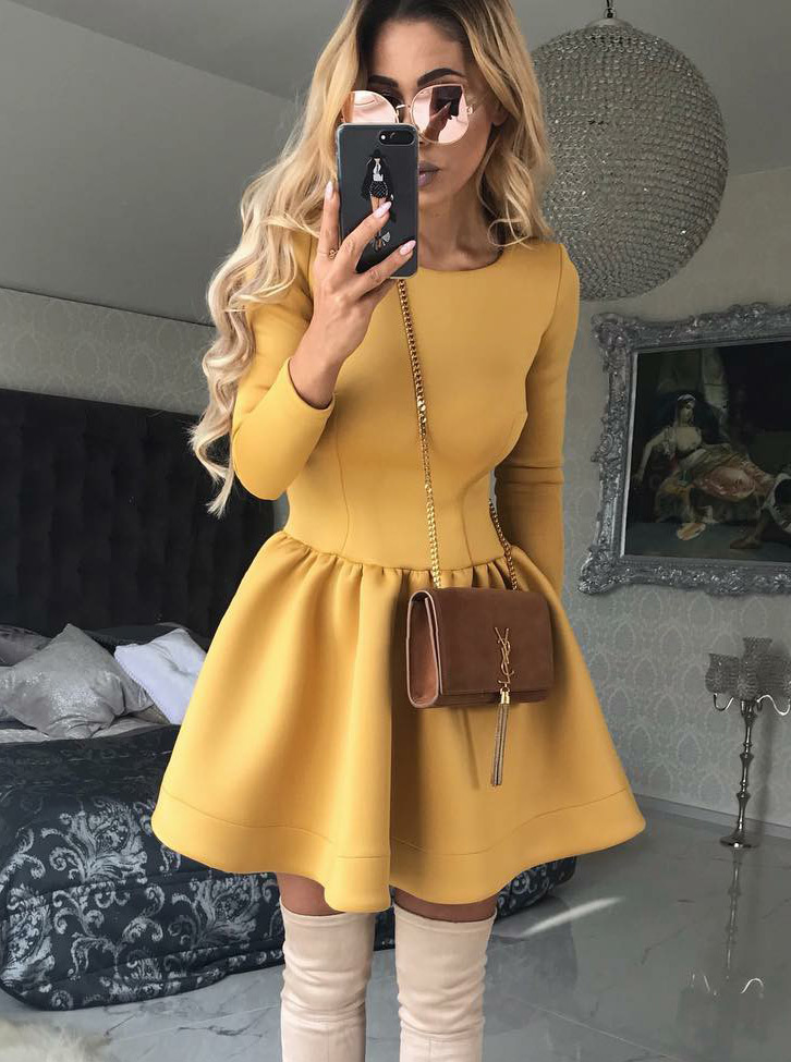 A-Line Round Neck Long Sleeves Yellow Satin Homecoming Dress фото