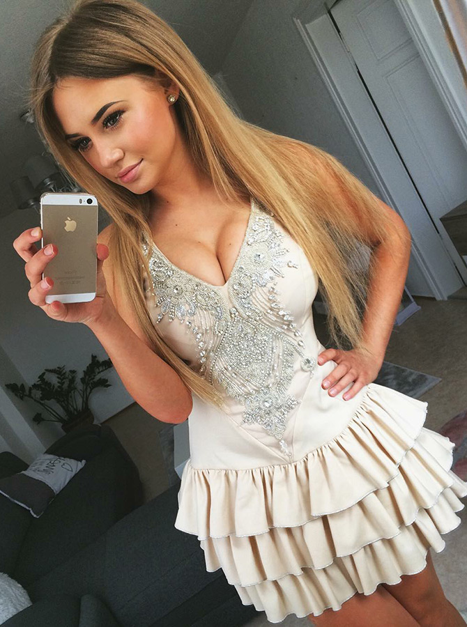 Simple-dress / A-Line V-Neck Tiered Ivory Satin Short Homecoming Dress with Beading