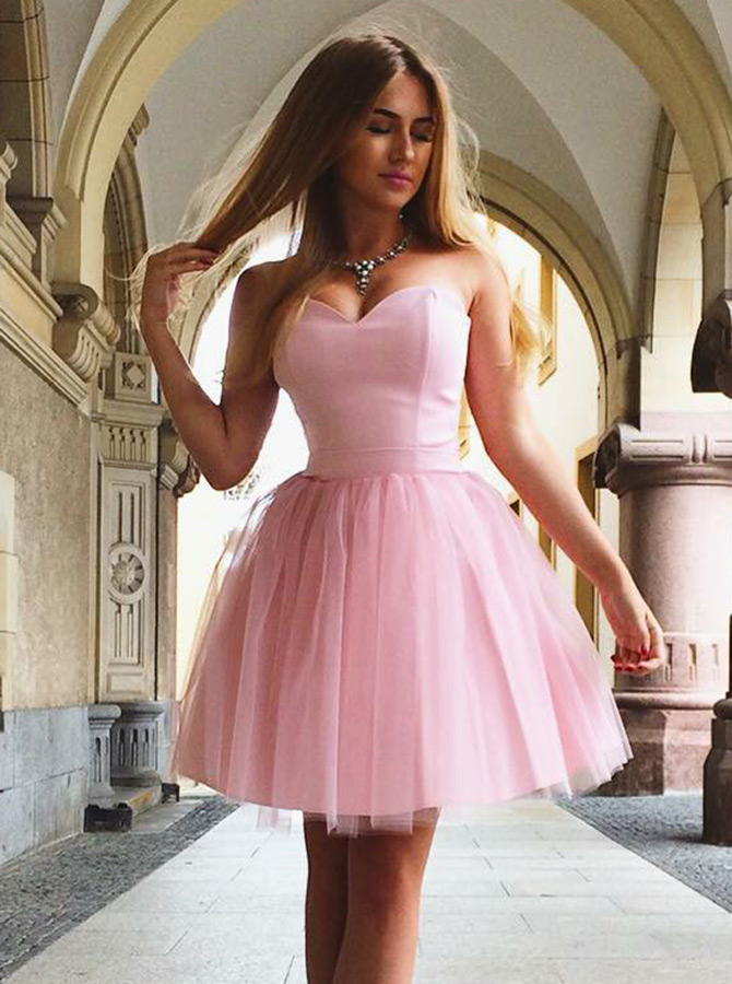 A-Line Sweetheart Lace-up Short Pink Tulle Homecoming Dress фото