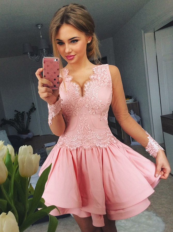 A-Line V-Neck Tiered Pink Satin Homecoming Dress with Appliques фото