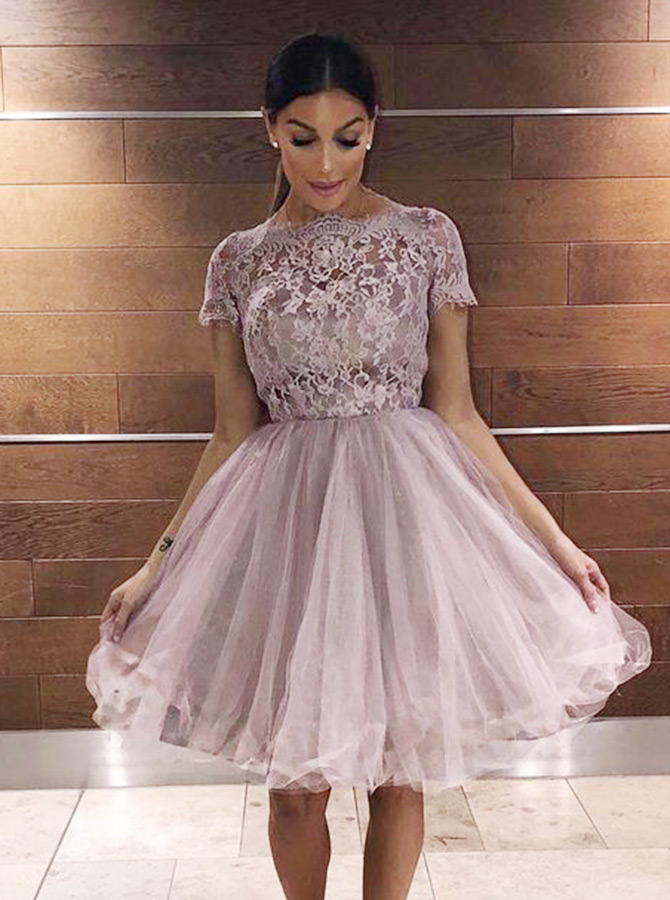A-Line Bateau Short Sleeves Lilac Tulle Homecoming Dress with Lace фото