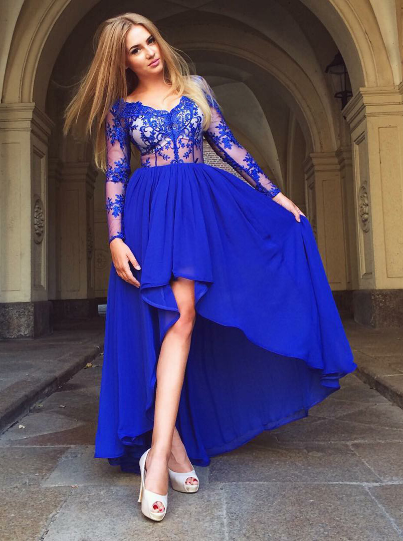 A-Line V-Neck High Low Blue Chiffon Homecoming Dress with Appliques фото