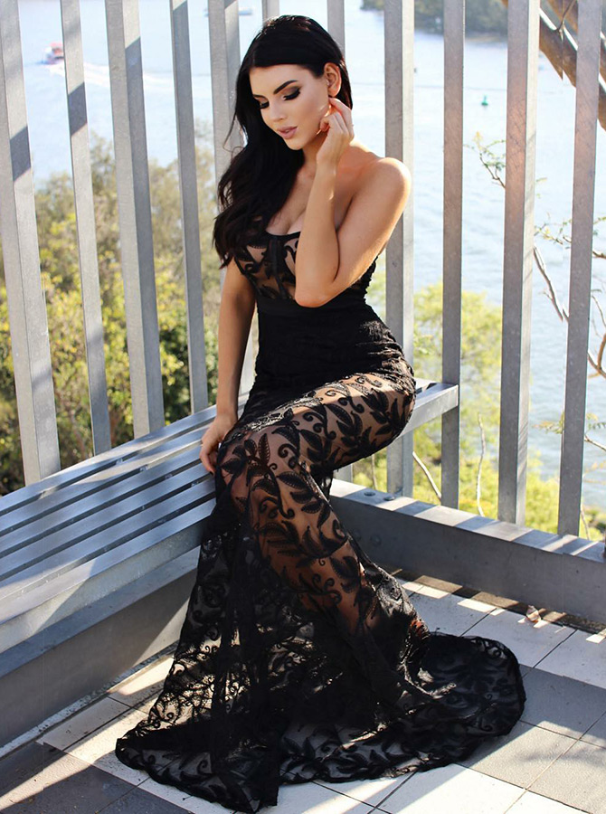 Mermaid Strapless Sweep Train Black Lace Evening Dress фото