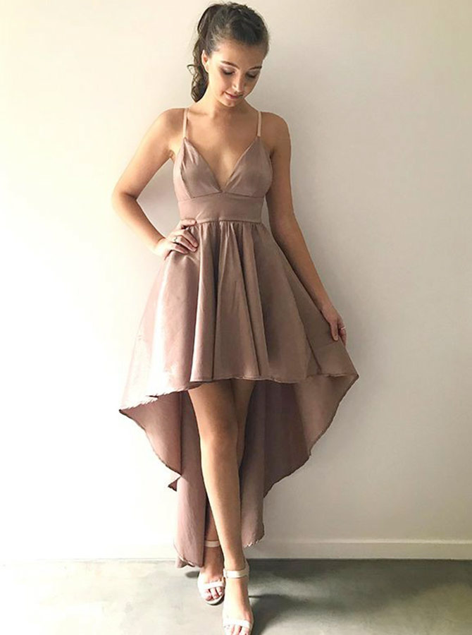 A-Line Spaghetti Straps High Low Blush Satin Homecoming Dress фото
