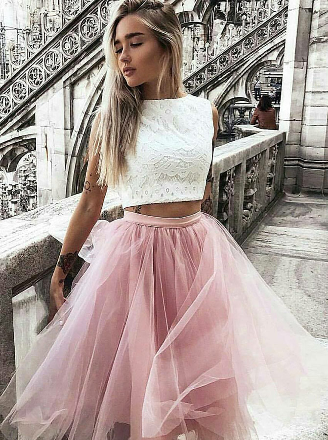Two Piece Bateau Pink Tulle Homecoming Party Dress with Lace фото