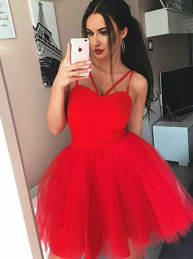 A-Line V-Neck Short Red Tulle Homecoming Dress