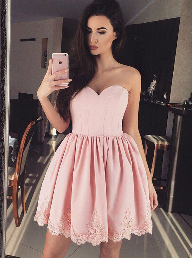 Simple-dress / A-Line Sweetheart Pink Satin Homecoming Party Dress with Appliques