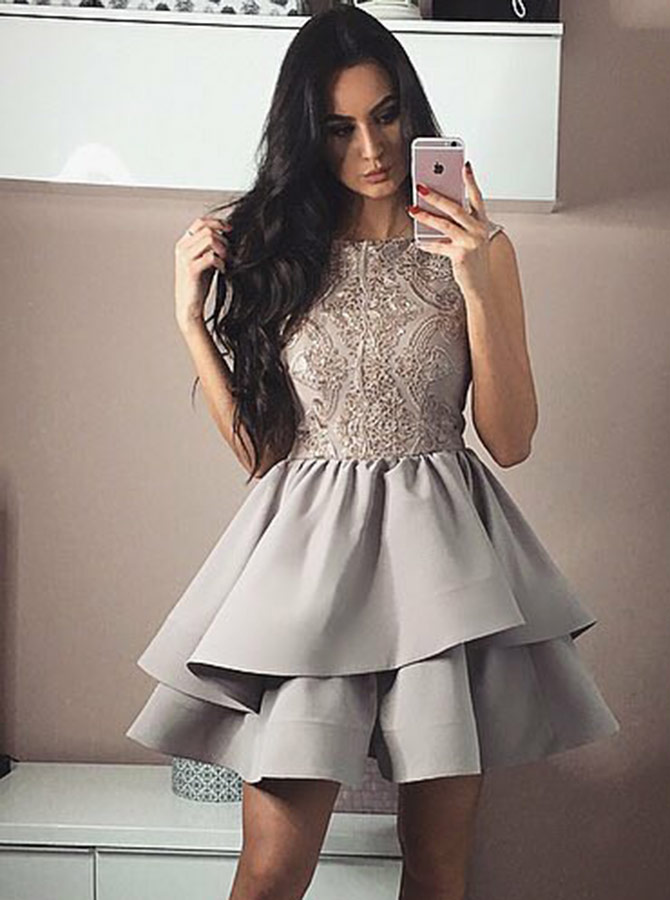 Bateau Tiered Grey Satin Homecoming Party Dress with Lace фото