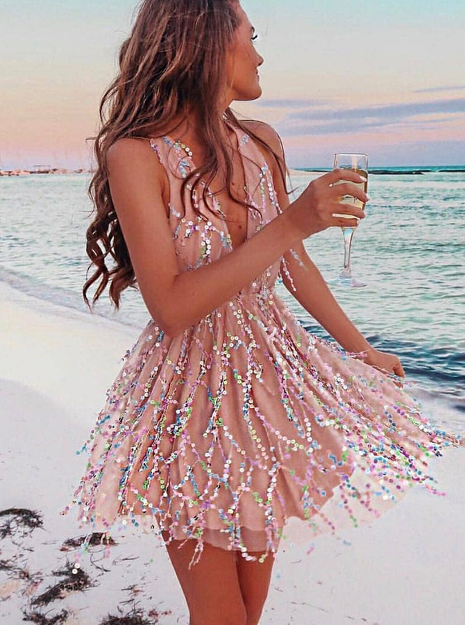 A-Line V-Neck Pink Lace Homecoming Party Dress with Sequins