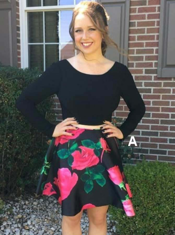 Two Piece Round Neck Floral Black Satin Homecoming Dress with Sleeves