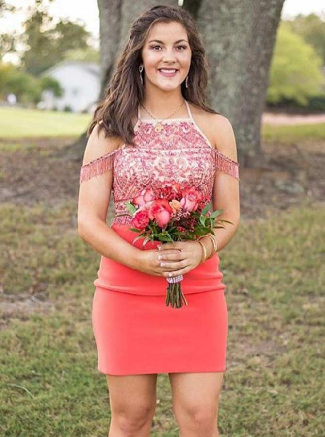 Bodycone Square Neck Coral Homecoming Party Dress with Sash фото