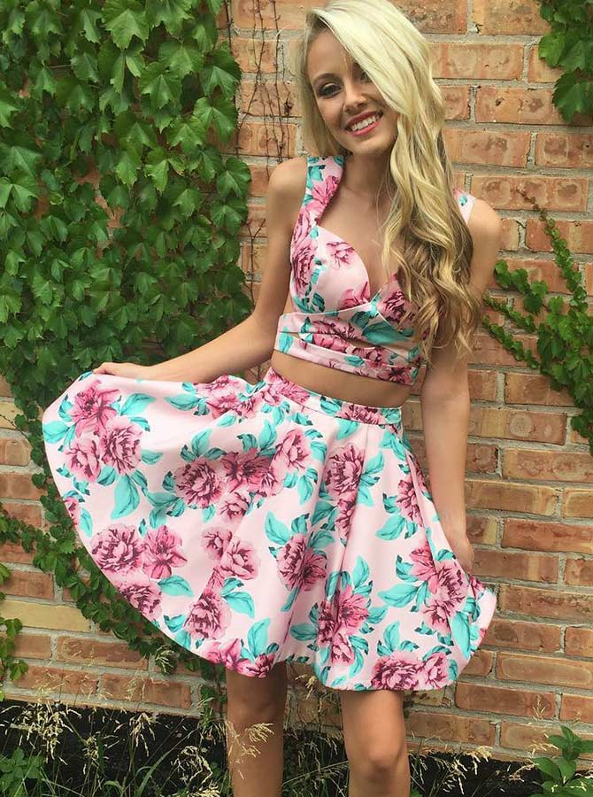 Two Piece Square Neck Pink Floral Homecoming Dress фото