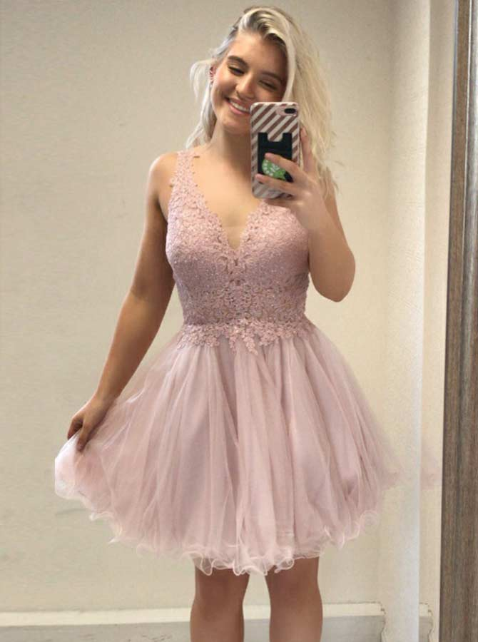 A-Line V-Neck Pink Tulle Homecoming Party Dress with Appliques Beading фото