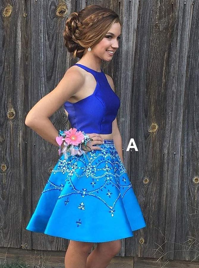 Two Piece Round Neck Blue Satin Homecoming Dress with Beading