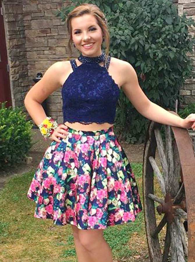 Two Piece Round Neck Blue Floral Satin Homecoming Dress with Lace Beading
