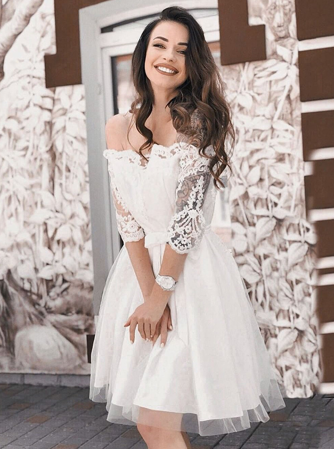 A-Line Off-the-Shoulder 3/4 Sleeves White Homecoming Party Dress фото