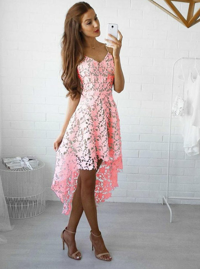 A-Line Spaghetti Straps High Low Pink Lace Homecoming Party Dress фото