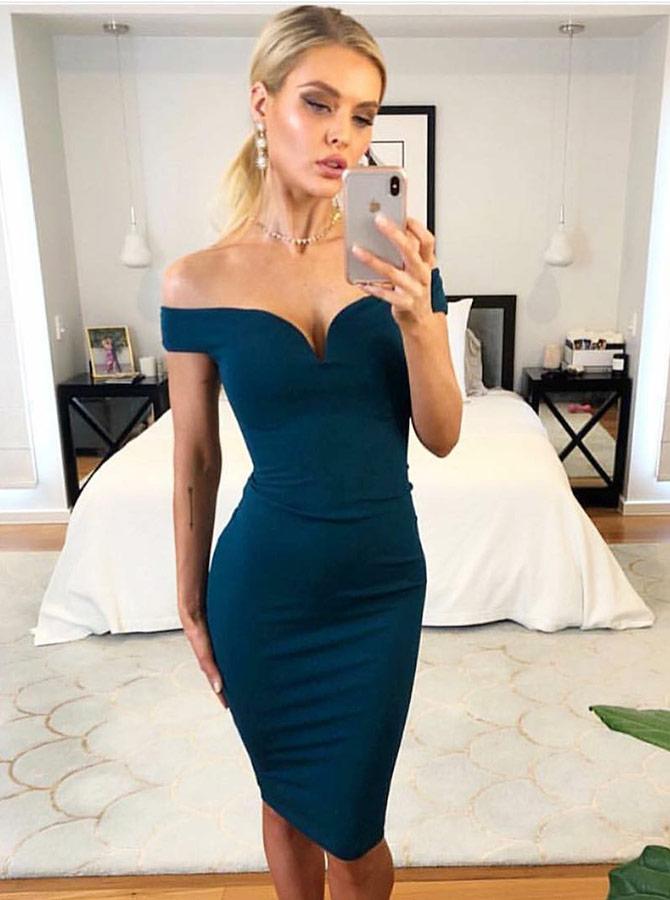 Sheath Off-the-Shoulder Knee Length Blue Satin Cocktail Party Dress