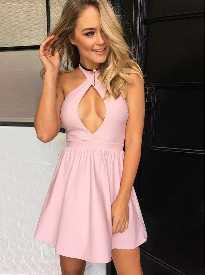 A-Line Halter Short Pink Satin Homecoming Party Dress with Keyhole фото