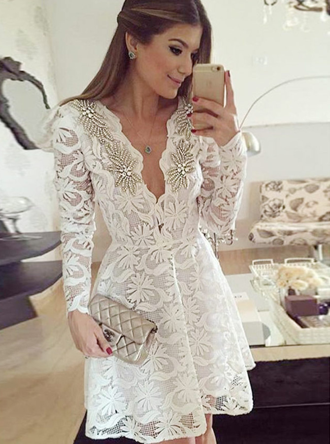 A-Line V-Neck White Lace Homecoming Party Dress with Sleeves Beading фото