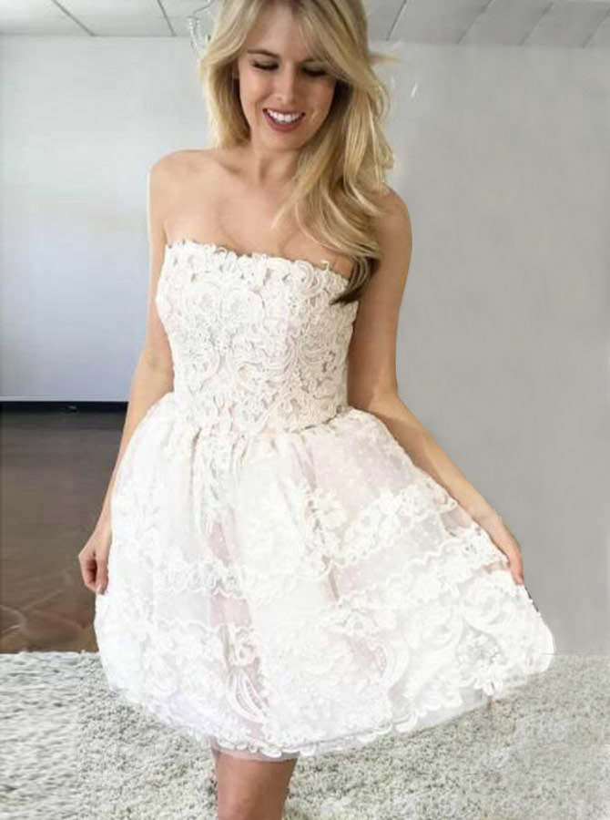 A-Line Strapless Above Knee Lace Homecoming Party Dress фото