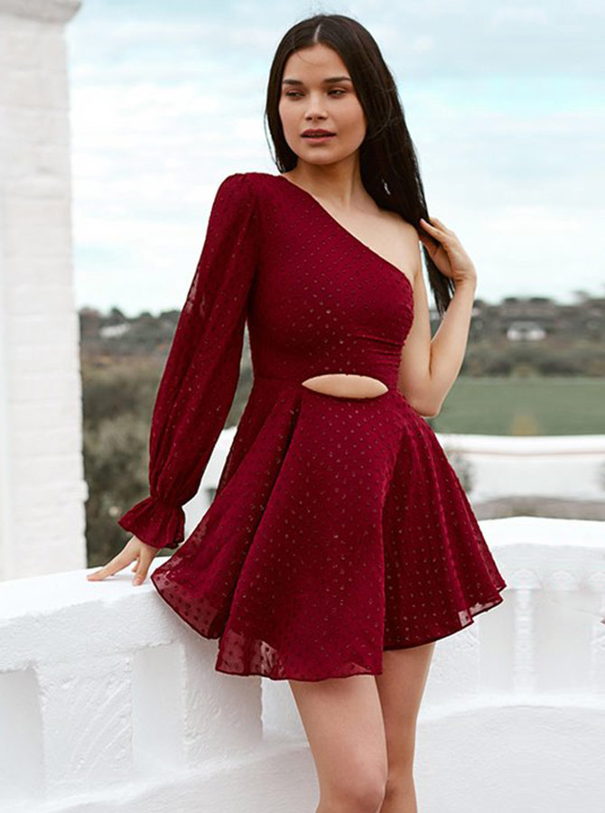 One Shoulder Dark Red Lace Homecoming Party Dress with Sleeves фото