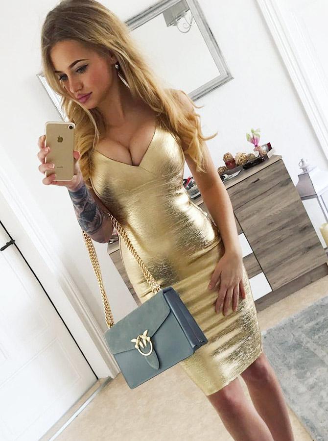 Bodycon Spaghetti Straps Knee Length Gold Satin Party Dress фото