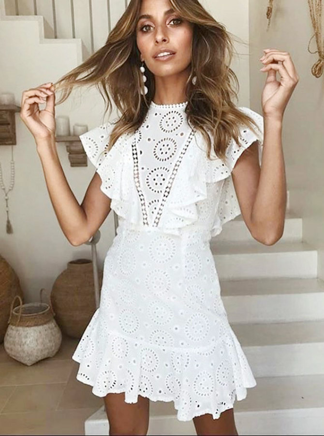 Sheath Jewel Short White Lace Homecoming Party Dress with Ruffles