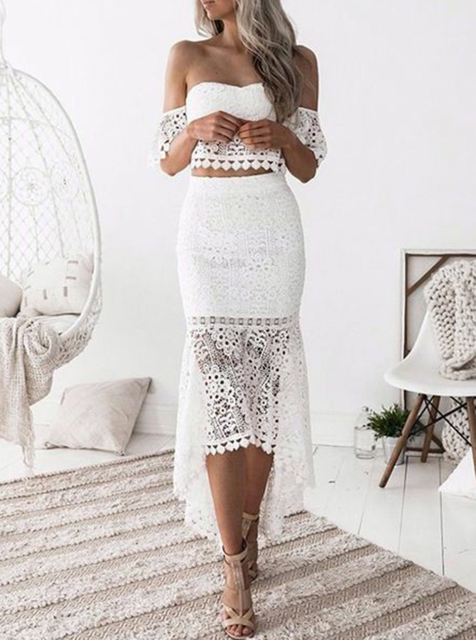 Two Piece Off-the-Shoulder White Lace Homecoming Party Dress Simple-dress фото