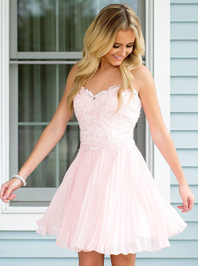 Simple-dress / A-Line Sweetheart Pleated Pearl Pink Homecoming Dress with Lace