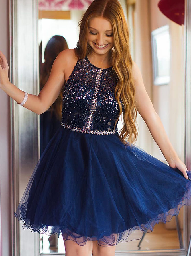 A-Line Round Neck Navy Blue Tulle Homecoming Dress with Beading фото