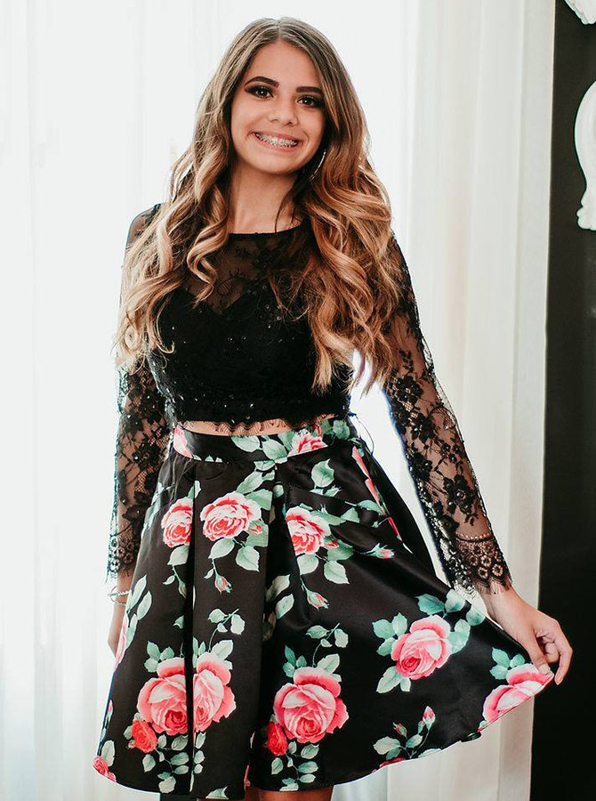 Two Piece Round Neck Floral Black Homecoming Dress with Lace Beading