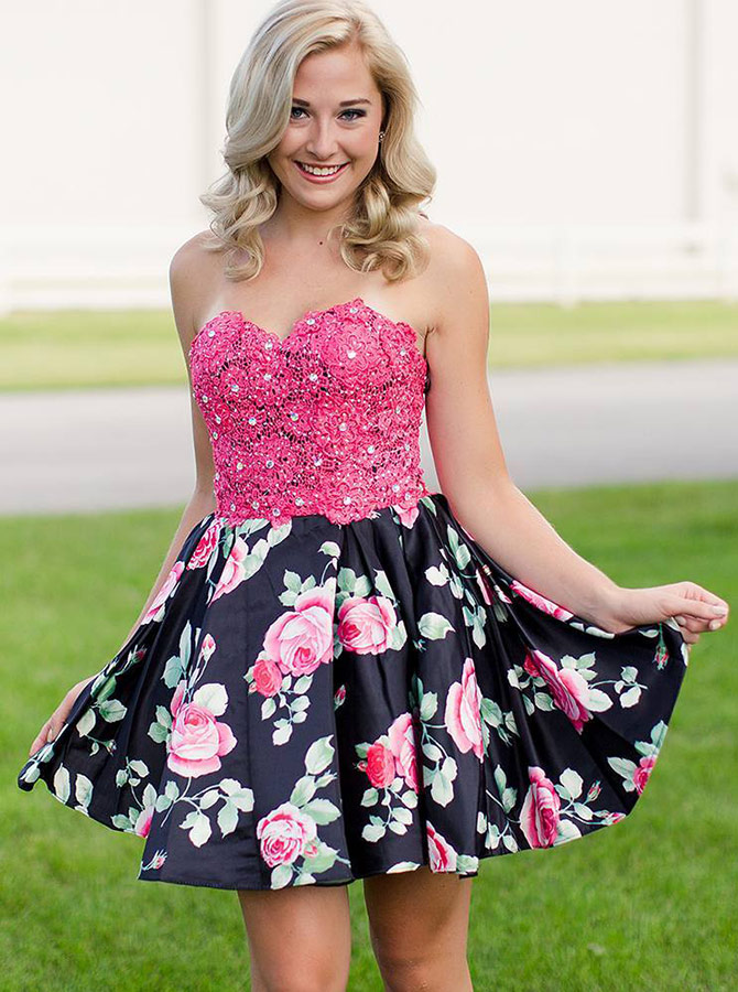 Simple-dress / A-Line Sweetheart Floral Homecoming Dress with Lace Beading
