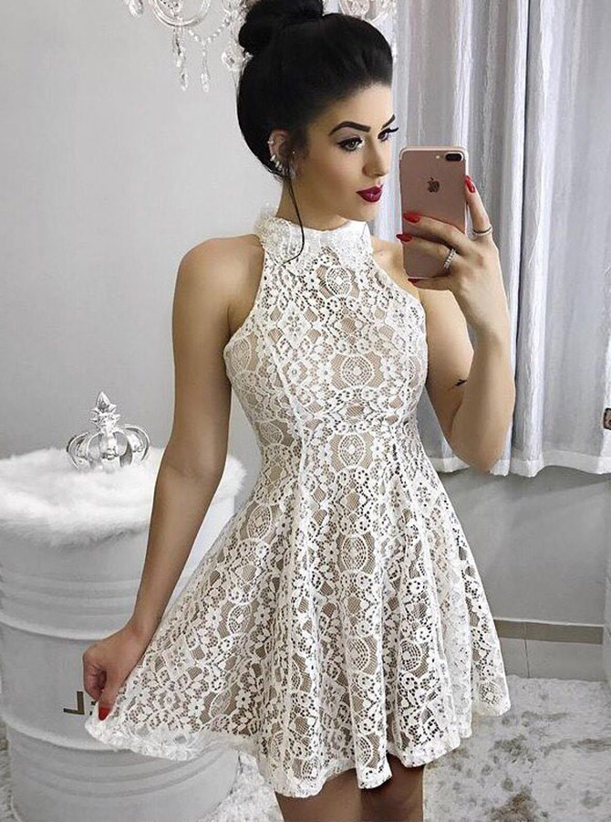 A-Line High Neck Light Champagne Short Homecoming Party Dress фото