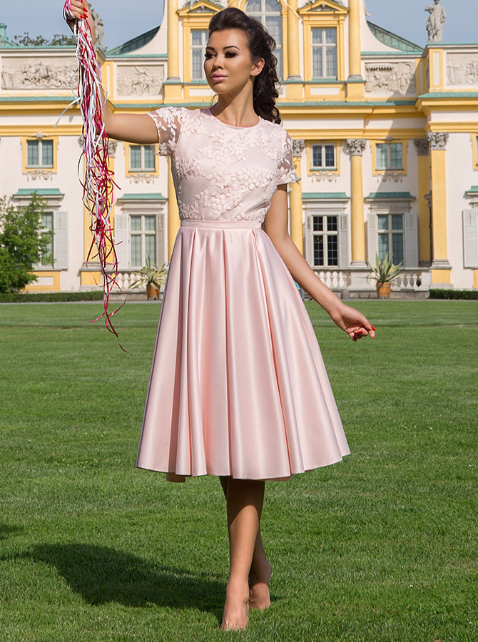 A-Line Jewel Short Sleeves Pink Satin Homecoming Dress with Lace