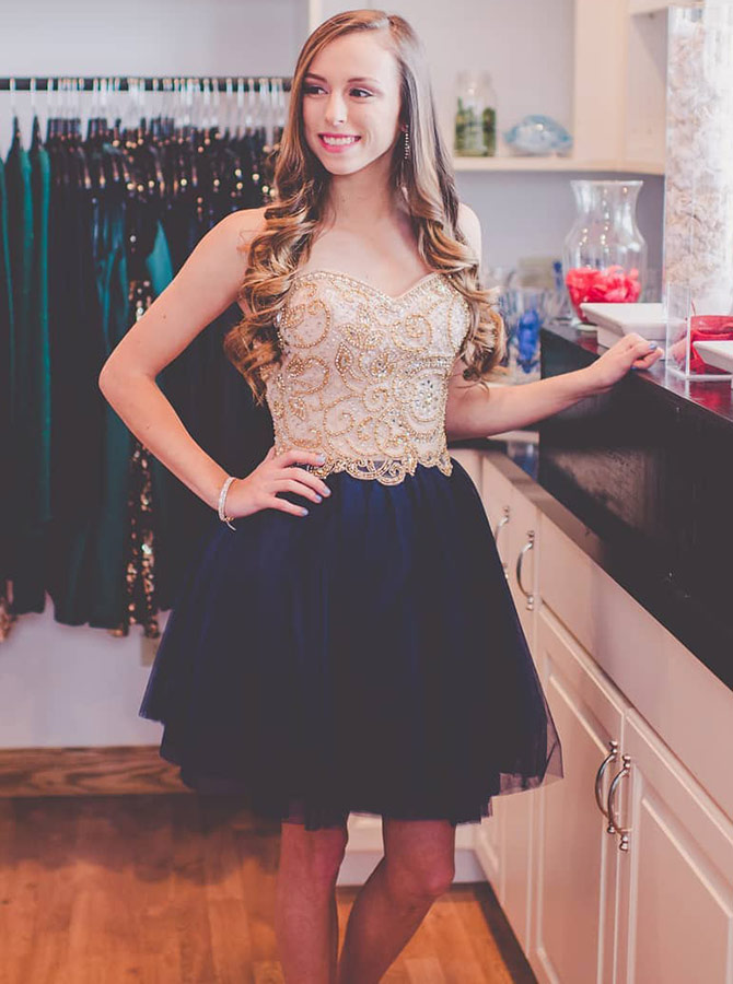 Simple-dress / A-Line Sweetheart Blue Tulle Homecoming Dress with Beading