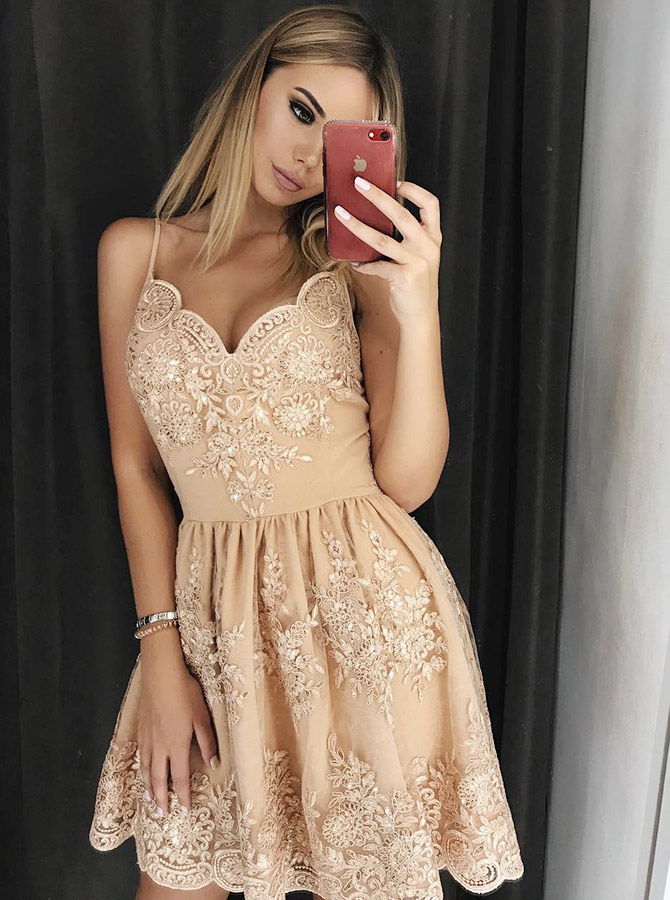 A-Line Spaghetti Straps Champagne Homecoming Dress with Appliques Beading фото